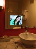 Our Flamingo Room Had a TV in the Bathroom Mirror