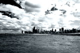 Chicago across from Lake Michigan - Black and White