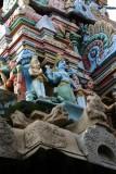 Sculptures on the gopuram, Sri Chakrapani Temple, Kumbakonam, India