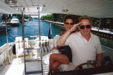 Murray Fisher with Brianna on his boat