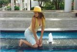 Roberta by fountain on Riverwalk