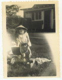 Linda Rich (age 2) in front of Spanish Camp Bungalow