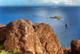 Orongo Petroglyphs, Motu Nui, the smaller Motu Iti and the sea stack of Motu Kao Kao
