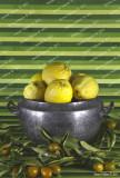 Old tureen with lemons and mandarin