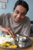 Our porter Gopal eat's by hand