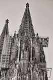 Scaffolds hanging from the northern tower of Cologne Cathedral