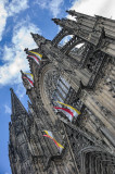 Cologne Cathedral, southern facade with flags