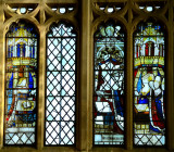 salvaged glass in east window