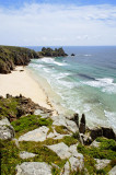 Porthcurno beach & Logan rock