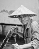 Boatman in the Chineese Water City of Zhujiajiao