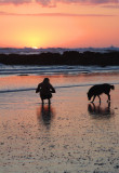 Beachgoer and Wet Dog, Playa Santa Teresa