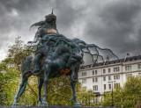 A bronze sculpture of the Mongolian warrior Genghis Khan