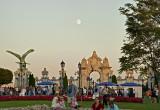 Moon over festival goers