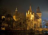 Vajdahunyad Castle at night