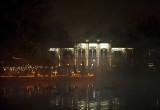 Steam rising on Városliget park lake