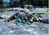 Battle debris the morning after a ground attack