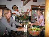 Barbara and Diana preparing dinner