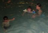 Barbara brought Adam and Sophia to swim one evening.
