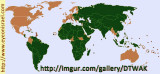 Map of countries that will support Palestine . . . .