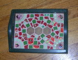 red & green wooden tray