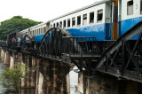 Crossing the famous 'Bridge on the River Kwai'