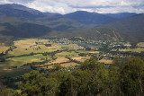 Mt Bogong (L) and Mt Beauty township from the Tawonga Gap