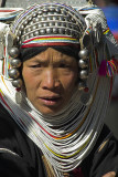 An Akha woman never removes her head-dress