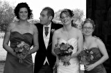 The Bride and Groom with Bridemaids in Black and White