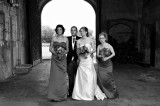 The Bride and Groom with Bridesmaids in Black and White