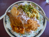 My lunch: typical Sri Lankan food, rice with condiments and meat