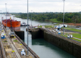 Looking back over our shoulder - another ship is coming into the lock beside us in the other lane