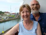 Bryan & Linda going thru the canal