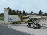 One of Nathan's golf carts at the entrance to the port