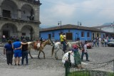 People enjoying a ride on a horse