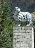 Snow leopard statue at Khaplu entrance.jpg