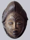 Punu okuyi dance mask with black pigment, 27 cm tall. Ngounié valley, South Gabon.