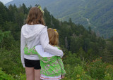 TWO GRANDDAUGHTERS, ENJOYING THE VIEW FROM CLINGMAN'S DOME  -  ISO 80