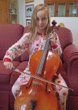 GRANDDAUGHTER KATIE PLAYS HER NEW STUDENT CELLO  -  ISO 800