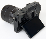 REAR VIEW OF THE SONY NEX-7 CAMERA, SHOWING THE ARTICULATED LCD SCREEN