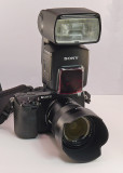 THE  NEX-7 WITH THE SONY/ZEISS 24mm F/1.8 LENS AND THE SONY HVL-F58AM FLASH ATTACHED