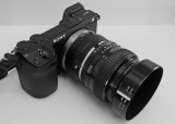 SONY NEX-7  CAMERA WITH A MINOLTA 50mm f/1.4 MC ROKKOR-X LENS ATTACHED, USING A RAINBOW ADAPTER