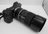 NEX-7 WITH A TAMRON SP 90mm f/2.5 LENS (MODEL 52B)  -  SHOWN WITH THE LENS HOOD ATTACHED
