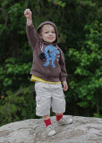 GRANDSON COLBY, DOING HIS ROCKY IMITATION   -  TAKEN WITH A SONY 50mm F/1.8 E-MOUNT LENS