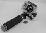 GO-PRO HERO2 SHOWN MOUNTED ON AN OPTEKA HG-1 HANDGRIP STABILIZER