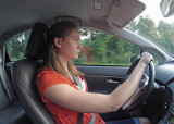 A DRIVING LESSON FOR GRANDDAUGHTER MIRI  -  STILL IMAGE, TAKEN WITH THE GO-PRO HERO2