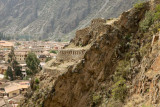 Incan structures and modern sructures in Ollantaytambo