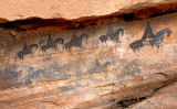 Spanish riders, Navajo pictographs, AZ