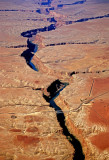 Aerial view of Navajo Bridge spanning Marble Canyon near Lee's Ferry, AZ