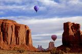 Balloons rising at North Window, Monument Valley, Navajo Tribal Park, AZ/UT