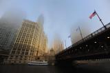 Foggy Wrigley Building and Du Sable Bridge